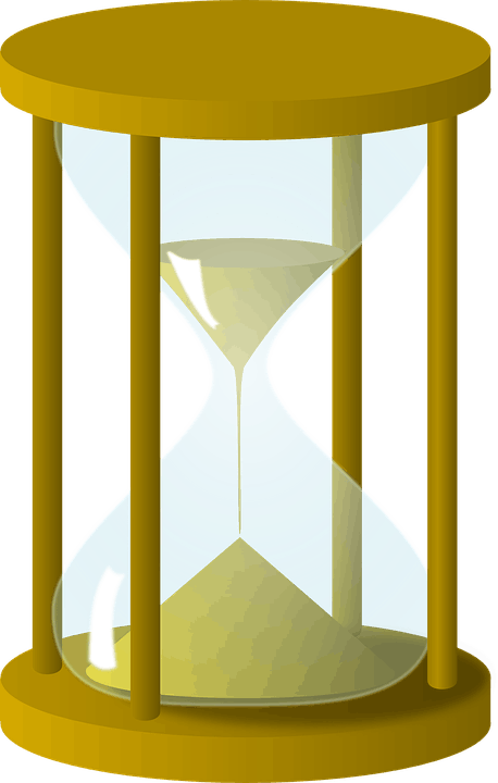 hourglass with sand falling