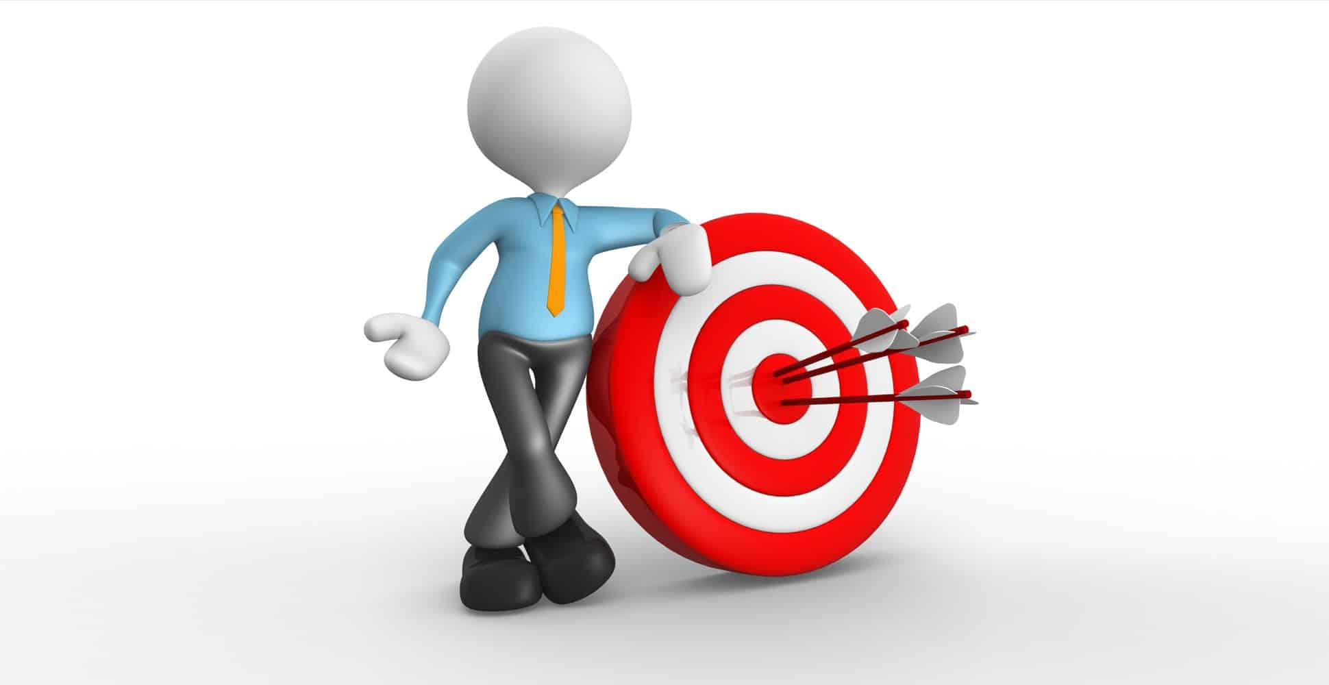 content is king in seo the truth - animated man leaning on target with arrows in bullseye