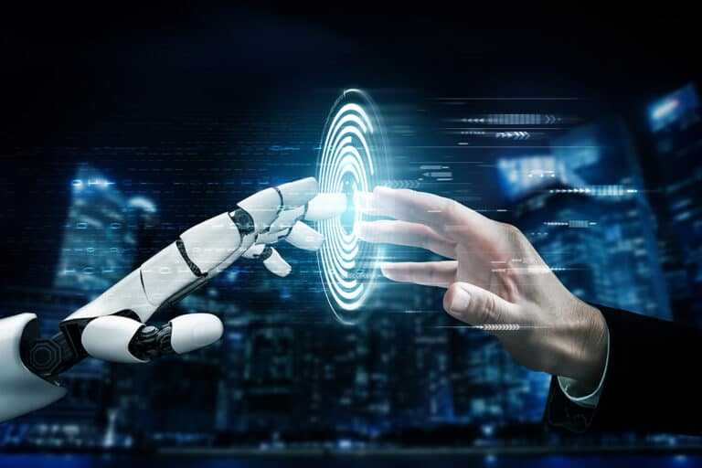 seo trends to follow in 2022 - futuristic robot hand and human hand touching interactive screen